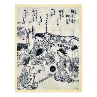 Girl's day by Nishikawa, Sukenobu Ukiyoe Post Card