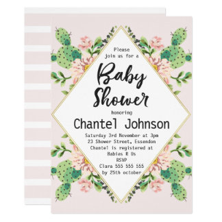 Girls Diamond Shape Cactus Baby Shower Invitation