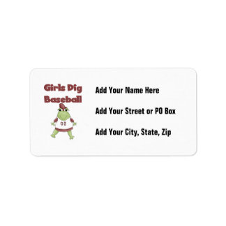 Girls Dig Baseball T shirts and Gifts Label