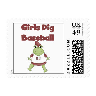 Girls Dig Baseball T shirts and Gifts Postage Stamp