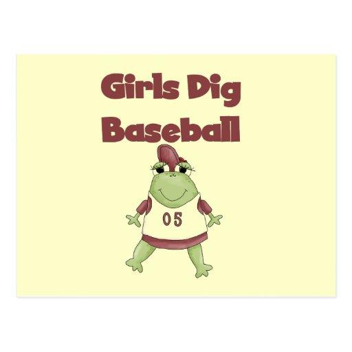 Girls Dig Baseball T shirts and Gifts Postcard