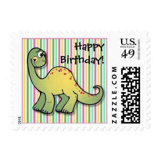 Girl's Dinosaur and Stripes Happy Birthday Postage