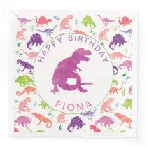 Girls Dinosaur Birthday Party Pattern Purple Dino Paper Dinner Napkin