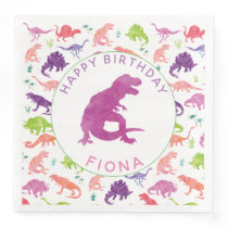 Girls Dinosaur Birthday Party Pattern Purple Dino Paper Dinner Napkins