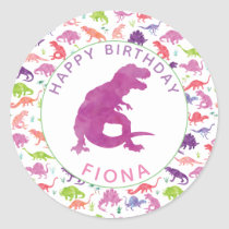Girls Dinosaur Birthday Party Personalized Purple Classic Round Sticker