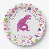 Girls Dinosaur Birthday Party Personalized Purple Paper Plate