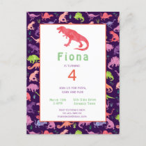Girls Dinosaur Birthday Party Postcard Invitation
