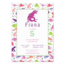 Girls Dinosaur T-Rex Birthday Party Invitation
