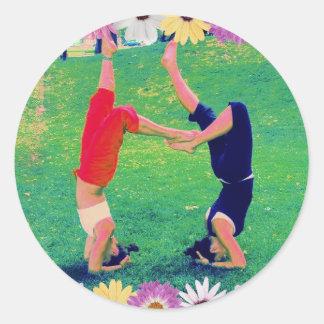 Girls Do Yoga Headstand Classic Round Sticker