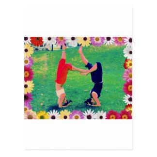 Girls Do Yoga Headstand Postcard