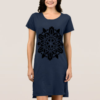 Girls dress blue with black Mandala art