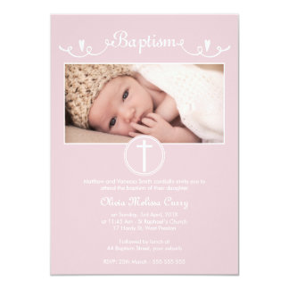 Girls Dusty Pink Hearts Photo Baptism Invitation