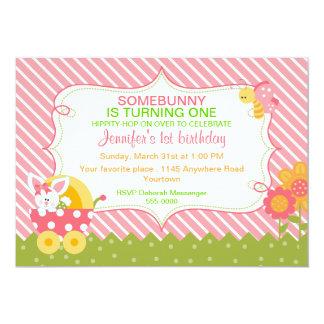 "Girls Easter Bunny Birthday Invitation 5"" X 7"" Invitation Card"