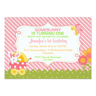 Girls Easter Bunny Birthday Invitation