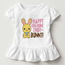 Girls Easter egg hunt bunny word art t-shirt