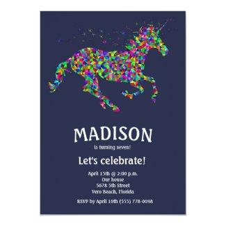 Girl's Editable Color Unicorn Birthday Party Card