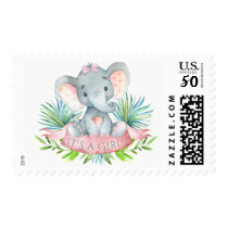 Girls Elephant Baby Girl Shower Postage Stamps