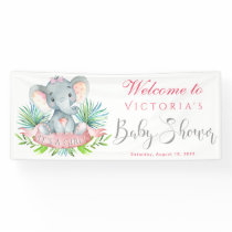 Girls Elephant Baby Shower Banners