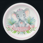 """Girls Elephant Baby Shower Paper Plates<br><div class=""""desc"""">Girls elephant baby shower paper plates with adorable baby girl elephant wearing a pink bow on a palm leave background. These cute elephant baby shower paper plates are easily customized for your event by simply adding the text of your choice. You can also change the background color on these adorable...</div>"""
