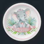 "Girls Elephant Baby Shower Paper Plates<br><div class=""desc"">Girls elephant baby shower paper plates with adorable baby girl elephant wearing a pink bow on a palm leave background. These cute elephant baby shower paper plates are easily customized for your event by simply adding the text of your choice. You can also change the background color on these adorable...</div>"