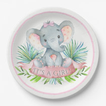 Girls Elephant Baby Shower Paper Plates
