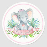 Girls Elephant Baby Shower Stickers