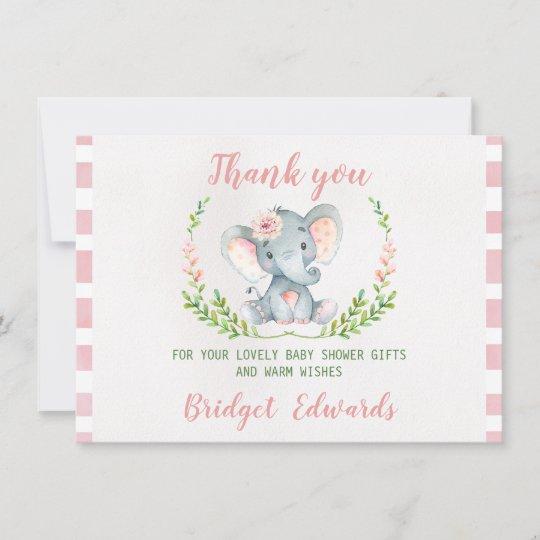 Girls Elephant Thank You Baby Shower Card Zazzle Com