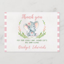 Girls Elephant Thank You Baby Shower Card