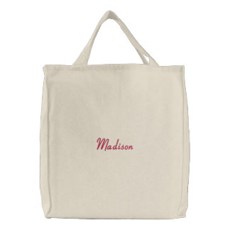 Girls Embroidered Name Canvas Tote Bag