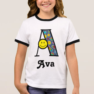 Girls Emoji Birthday Party Shirt Initial A