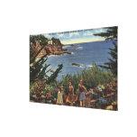 Girls Enjoying a Vista of Laguna Shores Stretched Canvas Print