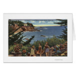 Girls Enjoying a Vista of Laguna Shores Greeting Cards