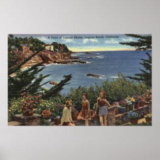 Girls Enjoying a Vista of Laguna Shores Poster