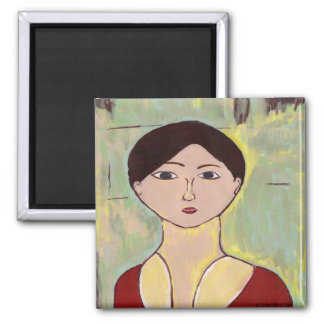 Girl's Face After Matisse 2 Inch Square Magnet