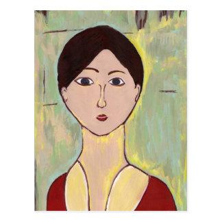 Girl's Face After Matisse Postcard