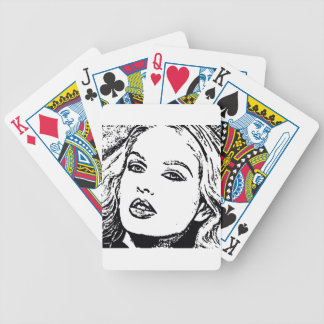 Girl's face bicycle playing cards