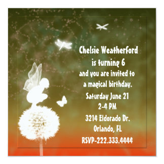 Girl's Fairy Birthday Party Invitation