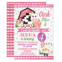 Girls Farm Animals Birthday Invitations