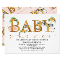 Girls Farm Animals Word Baby Shower Invitation
