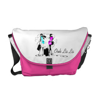 Girls fashion models french chic courier bag