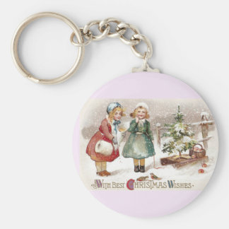 Girls Feeding Birds and Sled with Tree Vintage Keychain