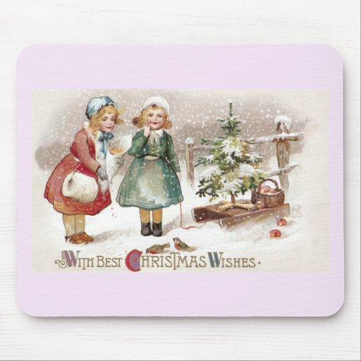 Girls Feeding Birds and Sled with Tree Vintage Mousepads