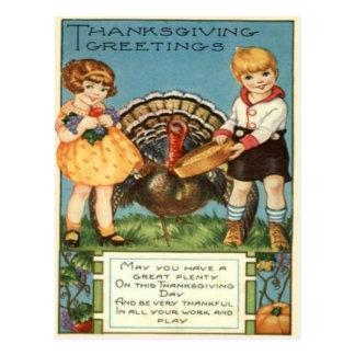 Girls Feeding Turkey Postcard