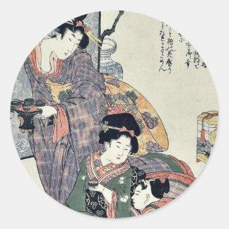 Girl's festival (hinamatsuri) by Kitagawa, Utamaro Classic Round Sticker