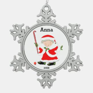 girls field hockey Christmas keepsake Snowflake Pewter Christmas Ornament