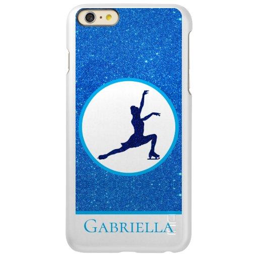 Girls Figure Skating Blue Sparkle iPhone Cases