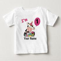 Girls First Birthday Cow Baby T-Shirt