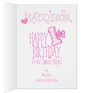 Girls First Birthday Greeting Cards