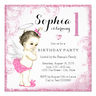 Girls First Birthday Party Pink Angel Card
