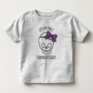 Girls First Cranioversary Skull with Bow Toddler T-shirt